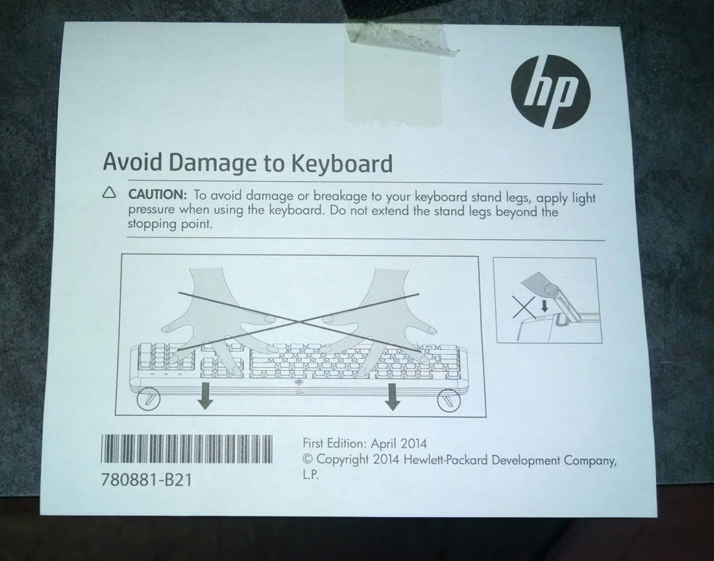 HP keyboard warning